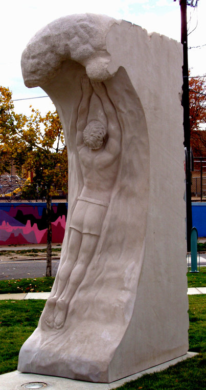 Denver Colorado Pool Portal Sculpture in Limestone, by Meg White