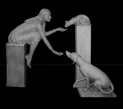 A sculptural fountain for the Louisiana State University. A woman reaches out to give care to animals. Water will spill from her left hand to her right. This clay sculpture will be made into bronze for LSU